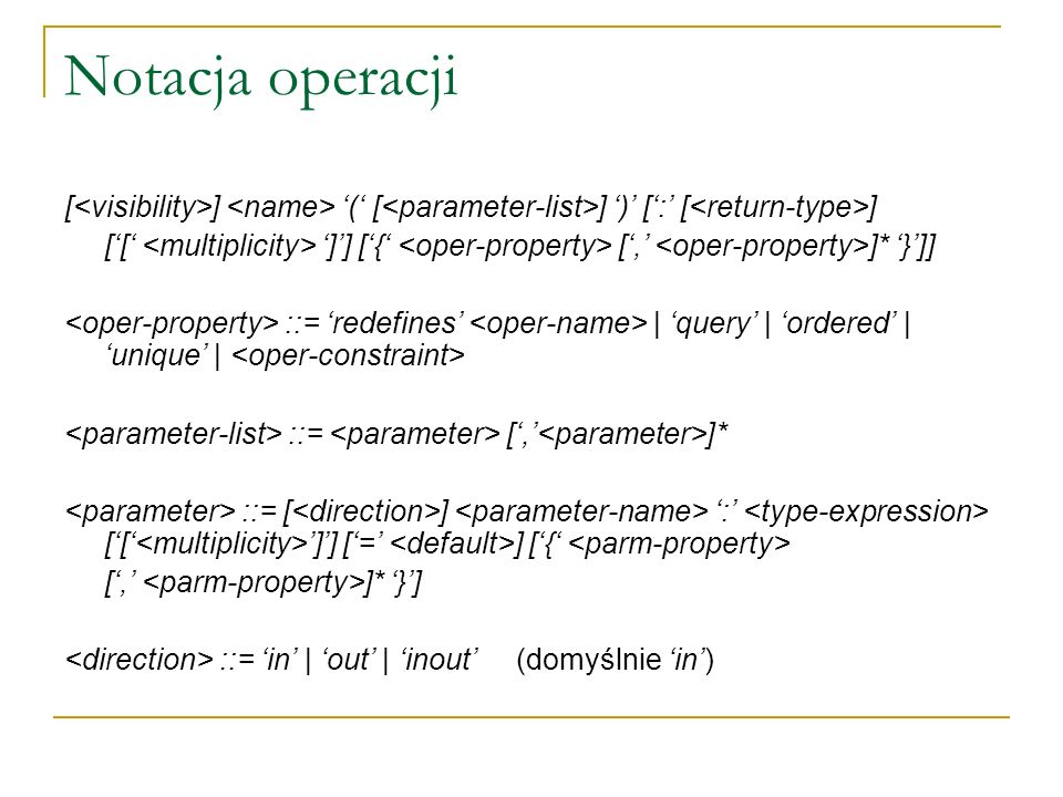 Notacja operacji [<visibility>] <name> '(' [<parameter-list>] ')' [':' [<return-type>]